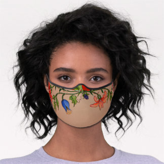Tropical Watercolor Floral Beige Tan Feminine Premium Face Mask