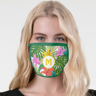 Tropical Yellow & Pink Hibiscus & Monstera Leaves Face Mask