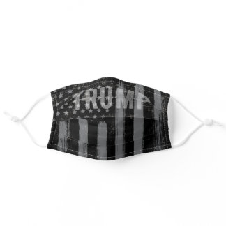 Trump American Flag Distressed Gray Black Adult Cloth Face Mask