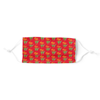Tulips on Red Adult Cloth Face Mask