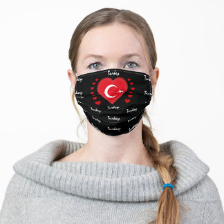 Turkey Flag & Heart, Turkish Flag fashion /sports Adult Cloth Face Mask