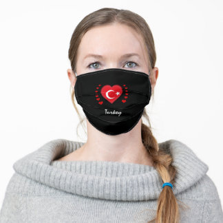 Turkey & Heart - Turkish Flag /sports patriots Adult Cloth Face Mask