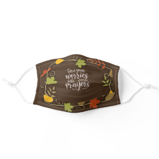 Turn Your Worries into Prayers Autumn Leaves Adult Cloth Face Mask