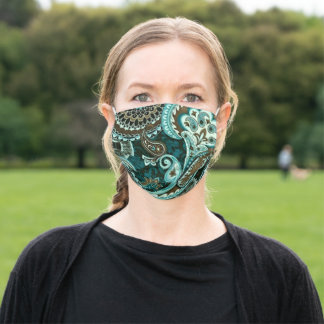 Turquoise and Brown Vintage Paisley Adult Cloth Face Mask