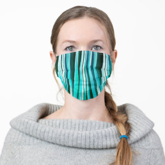 Turquoise and Cyan Ocean Stripy Lines Pattern Adult Cloth Face Mask