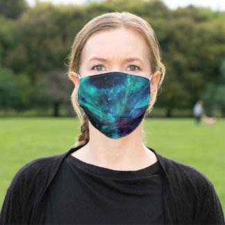 Turquoise and Purple Space Nebula and Stars Adult Cloth Face Mask