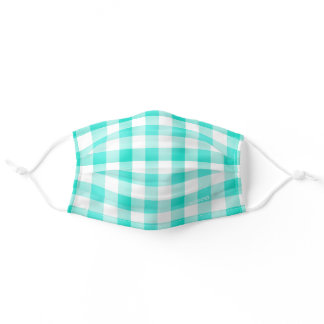 Turquoise and White Buffalo Plaid Check Add Name Adult Cloth Face Mask