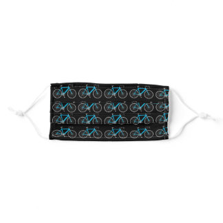 turquoise bicycle on black adult cloth face mask