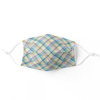 Turquoise Blue Pink Yellow Tartan Plaid Pattern Adult Cloth Face Mask
