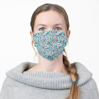 Turquoise Persian Boteh Paisley Pattern Face Mask