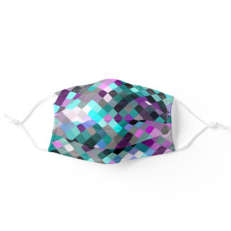 Turquoise Teal Blue Pink Purple Mosaic Art Pattern Adult Cloth Face Mask