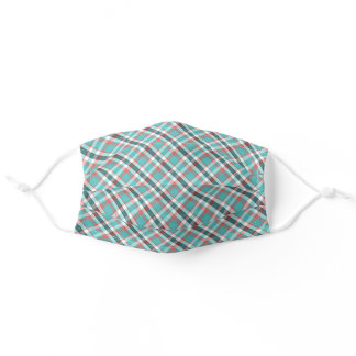 Turquoise Teal Blue Red White Plaid Tartan Pattern Adult Cloth Face Mask