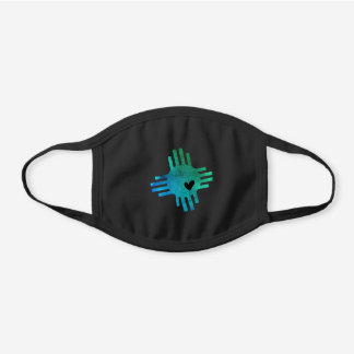 Turquoise Watercolor Zia with Heart  Black Cotton Face Mask