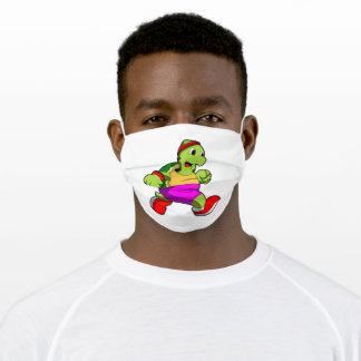 Turtle as Jogger with Headband Adult Cloth Face Mask
