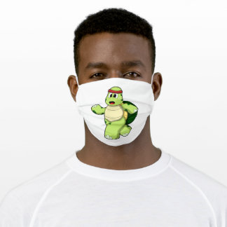 Turtle at Running with Headband Adult Cloth Face Mask