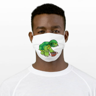 Turtle at Sports with Football & Helmet Adult Cloth Face Mask