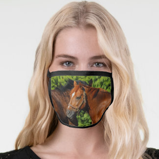 Two Beautiful Chestnut Horses in the Sun Face Mask