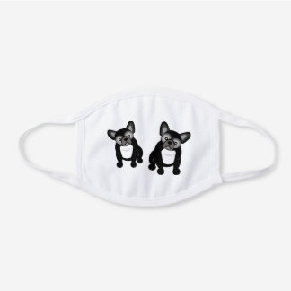 Two Black and White Bulldogs Cute Frenchies White Cotton Face Mask