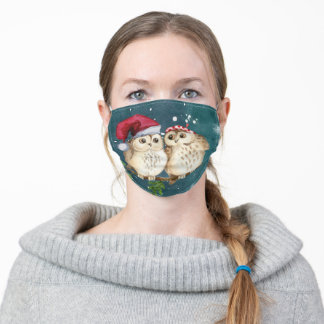 Two cute drawn Owls Adult Cloth Face Mask