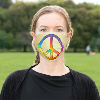 Tye Dye Peace Sign Adult Cloth Face Mask