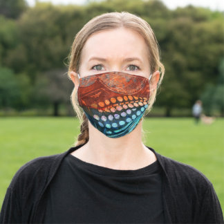Typewriter Blue Red PopArt Adult Cloth Face Mask