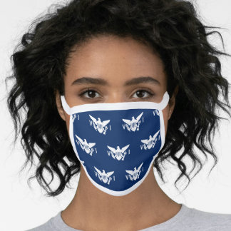 U.S. Virgin Islands Flag Pattern, Navy Blu & White Face Mask