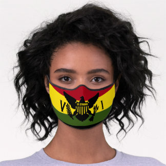 U.S. Virgin Islands Flag, VI STRONG, Rasta Premium Face Mask