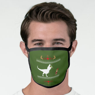 Ugly Christmas Sweater Funny Dinosaur Eating Elf Face Mask