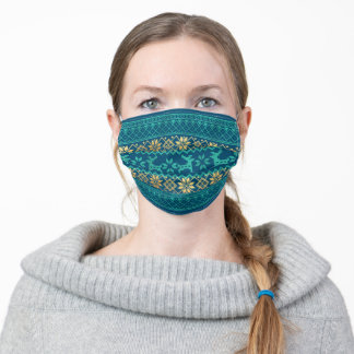 Ugly sweater pattern reindeer snowflake gold blue adult cloth face mask