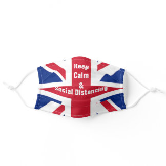 uk flag keep calm and social distancing adult cloth face mask