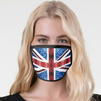 UK flag red and blue sparkles glitters Face Mask