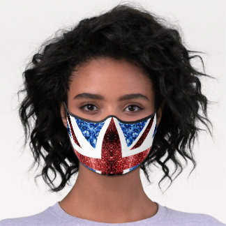 UK flag red and blue sparkles glitters Premium Face Mask