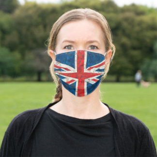 UK Great Britain Union Jack Distressed Flag Adult Cloth Face Mask