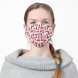 UK Symbols Red and Blue Pattern Adult Cloth Face Mask