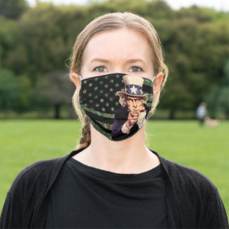 Uncle Sam Camo American Flag Adult Cloth Face Mask