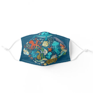 Under the Sea Animal Dolphin Turtle Octopus Adult Cloth Face Mask