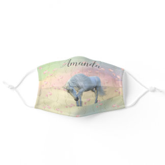 Unicorn Floral Pretty Personalized cute Adult Cloth Face Mask