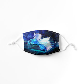 Unicorn In Blue Moonlight Pretty Girl's Kids' Cloth Face Mask