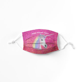 Unicorn Pink Gold Glitter Ombre Sparkle DIY Custom Kids' Cloth Face Mask