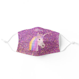Unicorn Pink Gold Glitter Sparkle Personalized Adult Cloth Face Mask