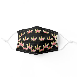Unicorn with flowers pattern on black adult cloth face mask