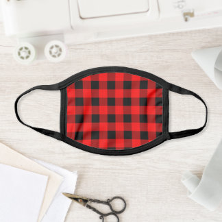 Unisex Red Black Plaid Checkered Buffalo Pattern Face Mask