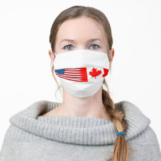 United States Flag and Canadian Flag Adult Cloth Face Mask
