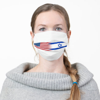 United States Flag and Israel Flag Adult Cloth Face Mask