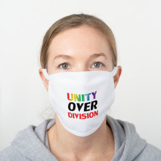 Unity over Division - red, white, blue, black lgbt White Cotton Face Mask