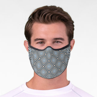 Urban Blue Gray Beige Brown Squares Art Pattern Premium Face Mask