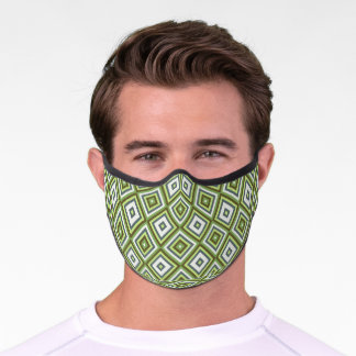 Urban Brown Lime Green Gray Squares Art Pattern Premium Face Mask