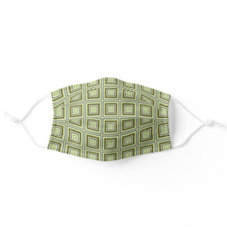 Urban Green Khaki Brown Gray Squares Art Pattern Adult Cloth Face Mask