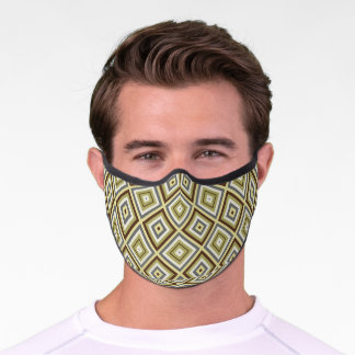 Urban Green Khaki Brown Gray Squares Art Pattern Premium Face Mask