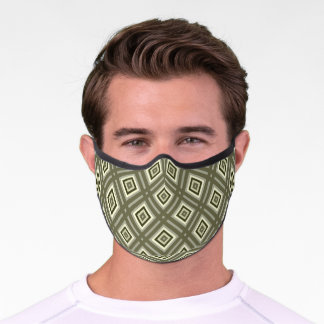 Urban Khaki Olive Green Brown Squares Art Pattern Premium Face Mask